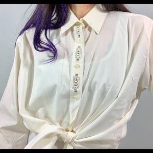 Vintage | Cream Western Style Jeweled Collar Top